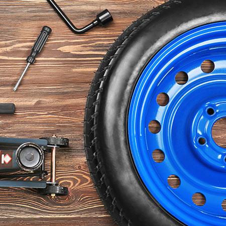 Hjuldelar i ett däckhotell