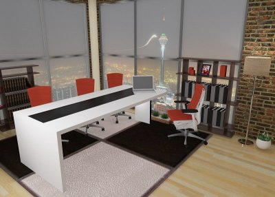 میز کنفرانس مدل 9401 مدرن با روکش رنگ کروماتیک و بصورت دورنگ مشکی و سفید تولید میشود