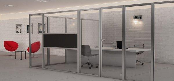 سیستم کلاسفایر پارتیشن اداری با ستون 4*4* بصورت دیواره تکجداره پارتیشنی اجرا میشود