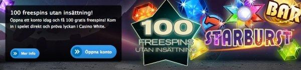 Casinot WhiteBet bjuder på 100 gratissnurr!