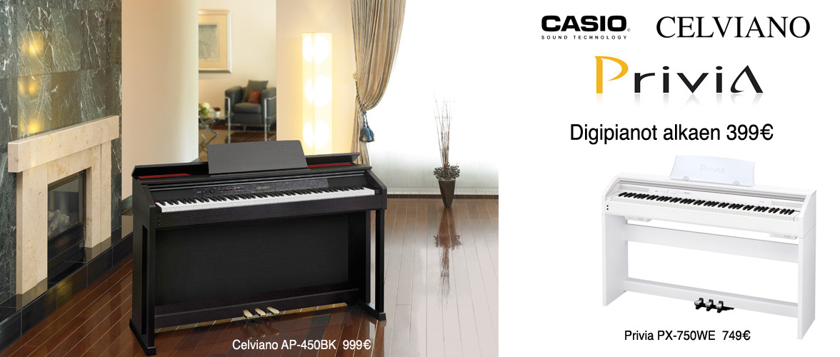 Casio digitaalipianot alkaen 399€