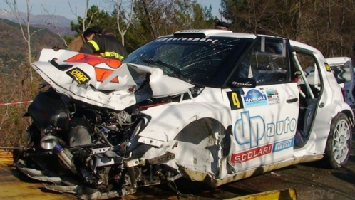 O carro de Kubica após o acidente
