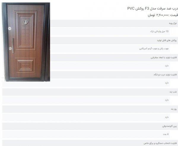 درب ضد سرقت مدل F3 روکش PVC    قیمت :۲,۲۰۰,۰۰۰ تومان