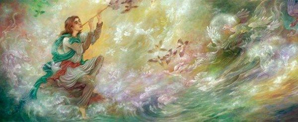 اثر نقاشی ساختمان اجرا شده روی دیوار با الهام از نوروز و تابلو معروف نقاشی استاد مهدوی