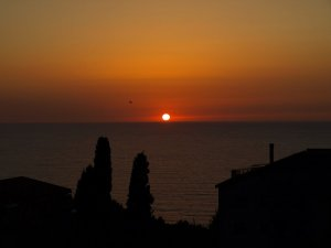 solnedgång från terrassen