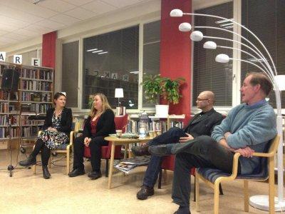 Författarframträdande på Folkbiblioteket i Vilhelmina. Kristina Sandberg, Anita Jacobson, Peter Lucas Erixon och Björn Löfström. Foto: Theres K Adler