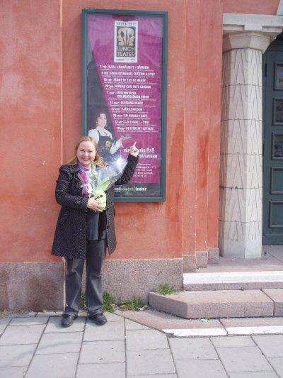 Anita Jacobson - efter premiären av De lyckligt lottade