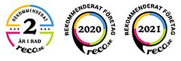 Vi har blivit ett rekommenderat företag på reco.se flera år i rad.