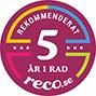 Vi har blivit rekommenderade 5 år på rad på reco.se
