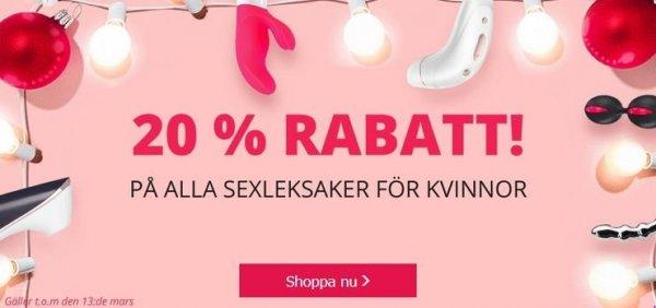 20% rea på alla sexleksaker för kvinnor!