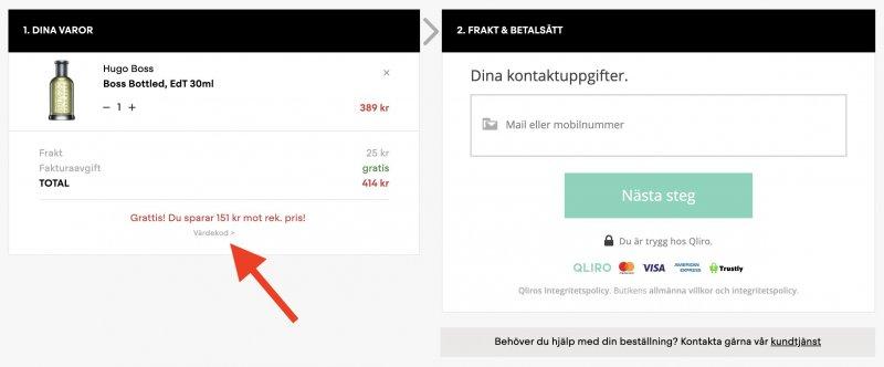 Fält för rabattkod hos Parfym.se