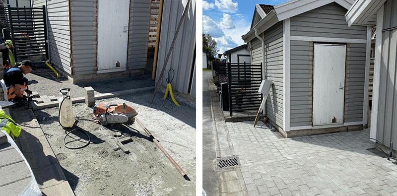 Stenläggning i Trollhättan. Före och Efter.