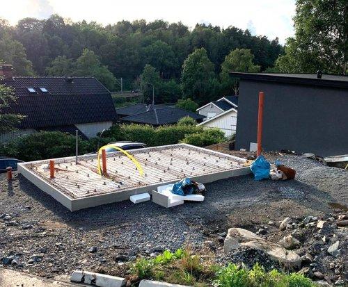 Anläggning av ny husgrund i Göteborg.