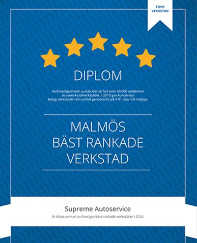 Diplom - Malmös bästa Bilverkstad