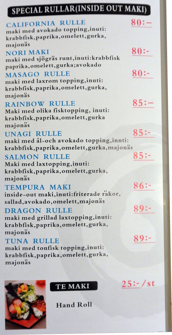 Specialrullar inside out sushi take away  031-414 123