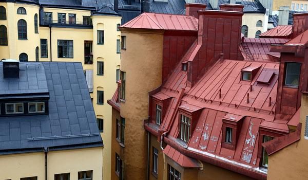 plåttak i Stockholms innerstad