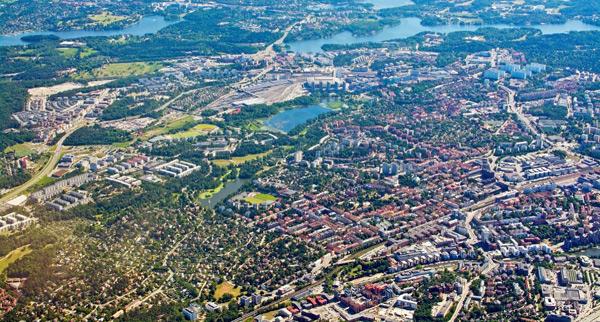 flygbild över Solna och Sundbyberg