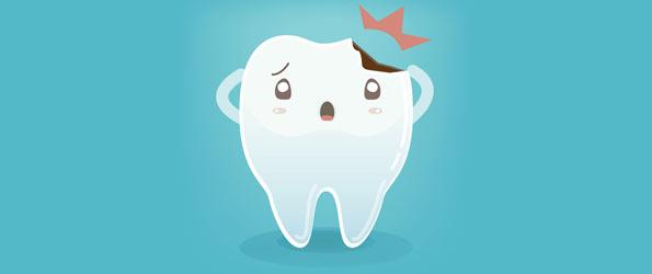 flisa som lossnat från tanden