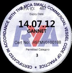RYA certificate 2011