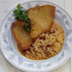 Bife de presunto panado com arroz de feijão: Museu dos Presuntos