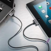 Cabstone iPhone / iPod USB ladd- och synkkabel Tygbeklädd 1 m