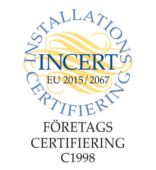 Installations certifierade hos Incert.