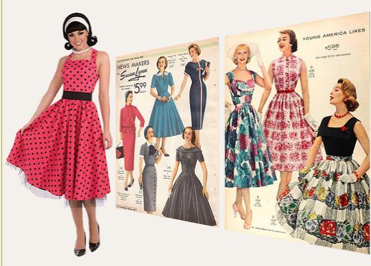 e73b2c23daed Klänningar, skor och frisyr i kvinnor mode mellan 1951-52.
