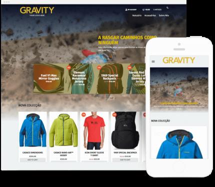 Gravity site para Loja Online de Equipamento Desportivo