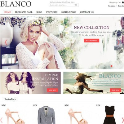Blanco wordpress tema e-handel