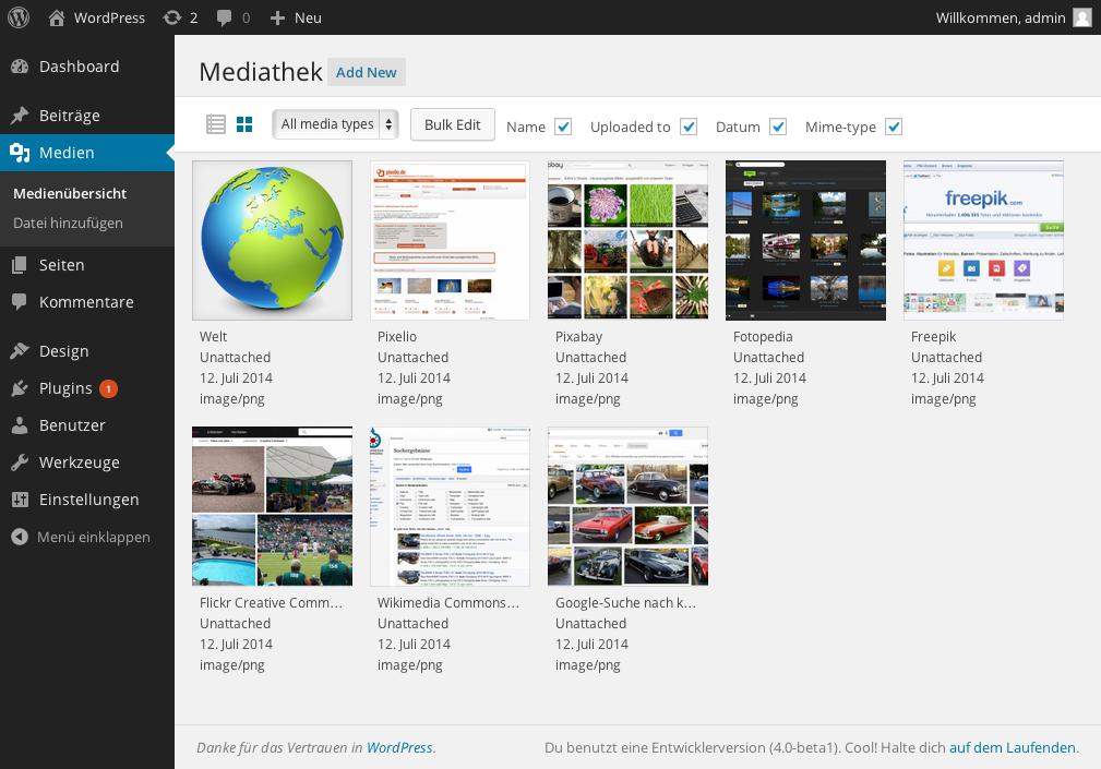 die neue Raster-Ansicht der WordPress-Mediathek