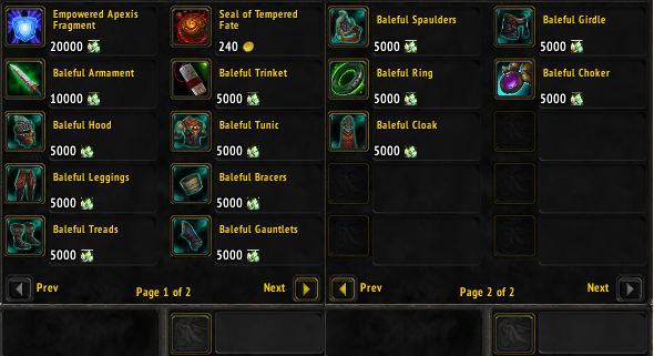 Gear item levels in wod world of warcraft gameplay guides the baleful gears consist of malvernweather Image collections