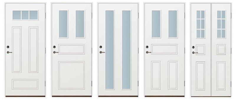 Fem olika varianter av ytterdörrar i Värmland, dessa bland våra ytterdörrar med fönster.