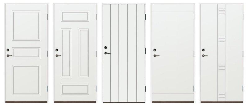 Fem olika varianter av ytterdörrar i Värmland, dessa bland våra ytterdörrar utan fönster.